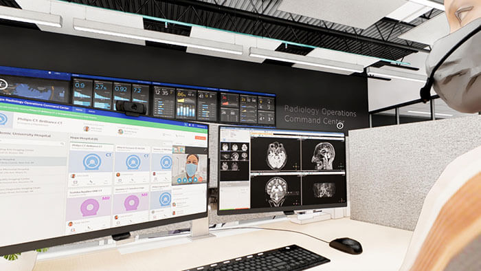 Artist's rendering of Philips Radiology Operations Command Center (ROCC) showing experts providing remote virtual assistance