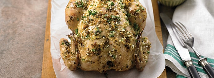 Green olive, garlic & lemon chicken